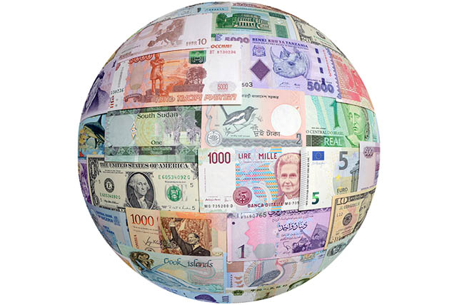 Global currency graphic