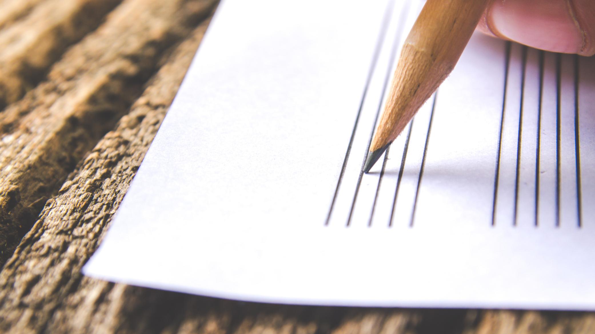 Pencil writing music