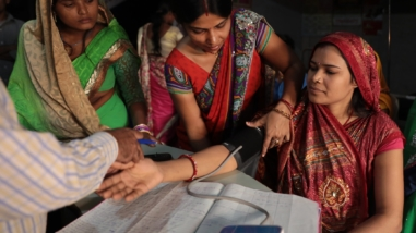 A woman undergoes screening for injectable contraceptive