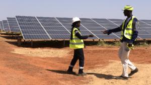 Technicians walk through solar panels in Senegal