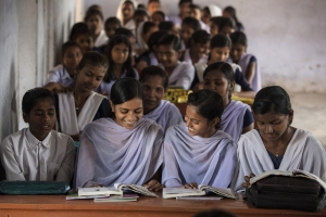 Eight grade students in a mathematics class in India